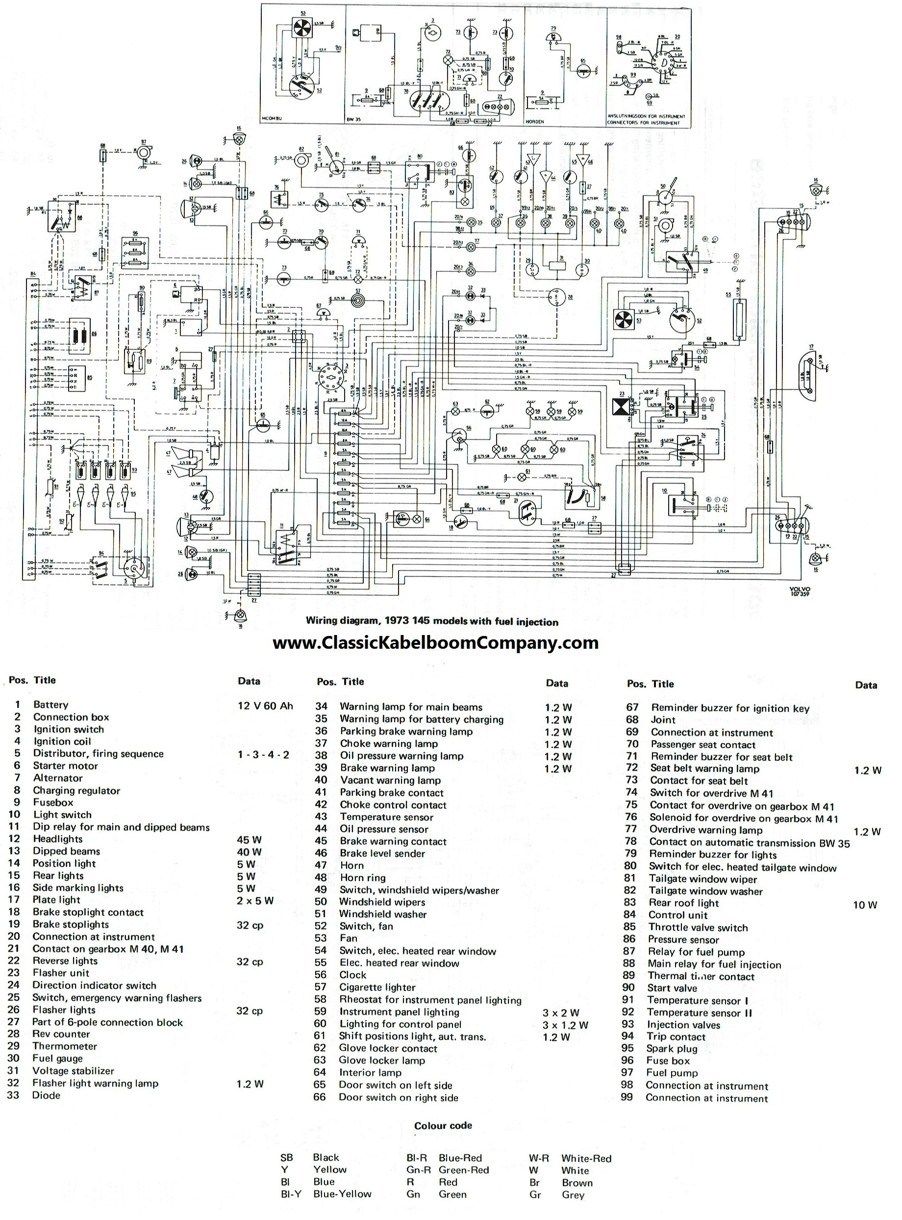 Volvo 140 142 144 145 1973 1974 D-jetronic fuel injection injectie B20E E electrical  wiring diagram elektrisch bedrading schema.