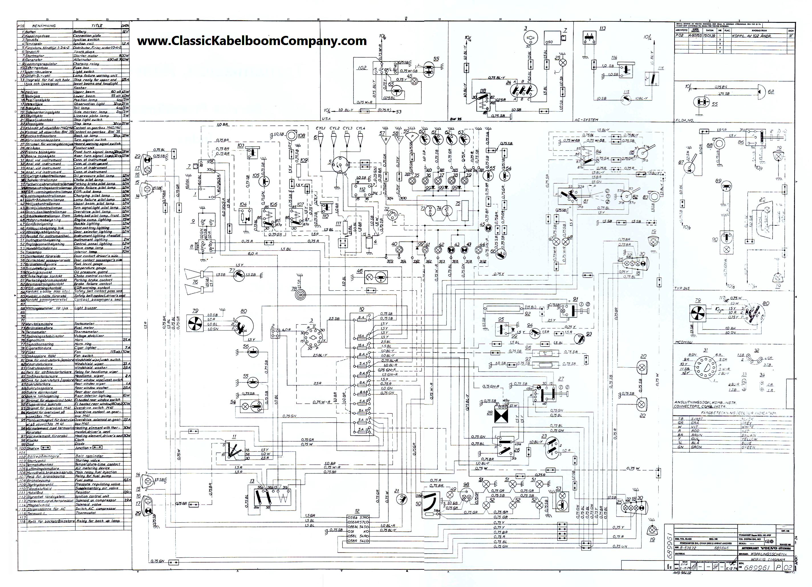 1974 Volvo P1800 Wiring Diagram - WIRING CENTER •